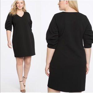 NWT Eloquii Black Pleated Sleeve Easy Dress 28